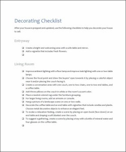 home staging decorating checklist